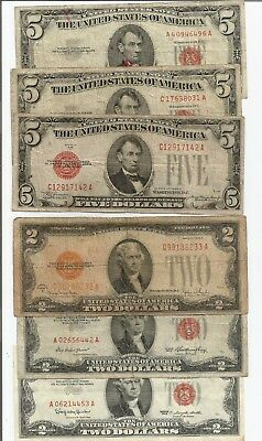 1928 $5 - 1928 $2 United States Notes Red Seal Lot