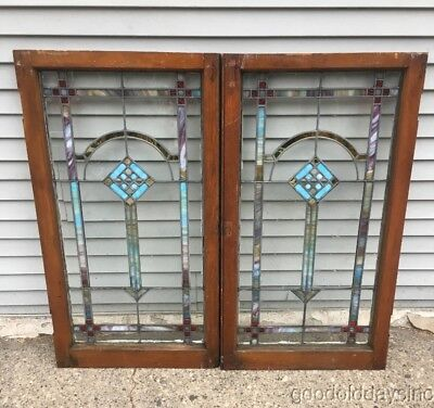 """Pair of Antique 1920""""s Chicago Stained leaded Glass Windows / Doors 42"""" by 23"""""""