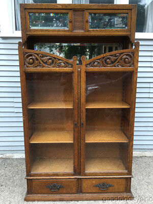 Antique Solid Oak Carved Bookcase w/ Three Mirrors & 2 Drawers Circa 1900