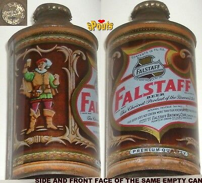 4% Irtp Falstaff Premium Cone Top Beer Can+Bottle Cap Omaha,ne.nebraska Cavalier