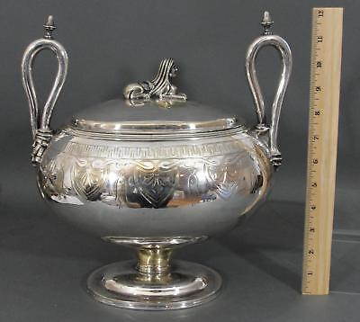 Antique Circa 1840s, Egyptian Revival, Silverplated Covered Tureen w/ Sphynx