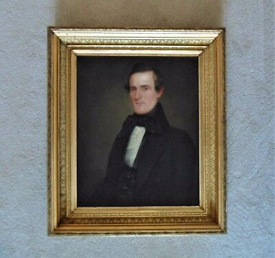 18th / 19th c. Antique Painting Portrait Gentleman Oil on Canvas with Frame