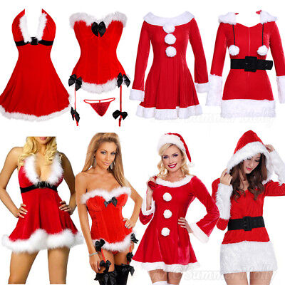 New Womens' Red Fancy Dress Christmas Outfit Sexy Mrs Claus Hooded Santa Costume