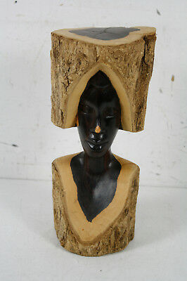 Vintage Hand Carved Raw Wood Woman Art Sculpture