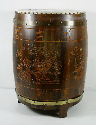 Vintage Japanese Wood Carved Brass Traditional Taiko Drum