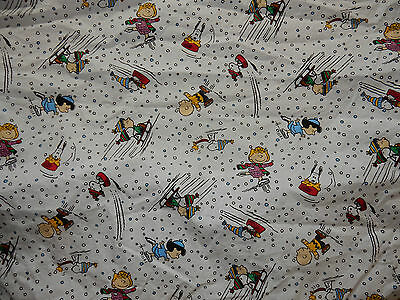 Peanuts Winter Sports Twin Fitted Sheet Fabric Snoopy Charlie Brown Sally