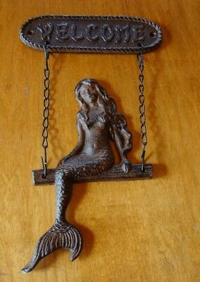 RUSTIC CAST IRON NAUTICAL MERMAID on SWING WELCOME SIGN Beach Sailboat Decor NEW