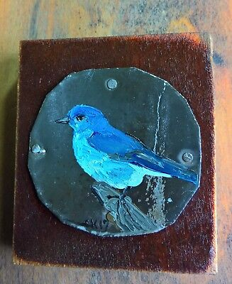 Oil Painting Folk Art Mountain Bluebird On Tin  And Wood Cheryl Korb