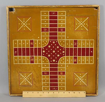 Antique Early 20thC American Folk Art, Parcheesi & Checkers Gameboard NR