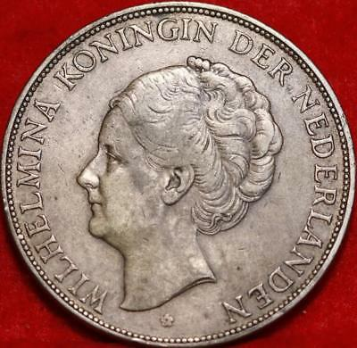 1930 Netherlands 2 1/2 Gulden Silver Foreign Coin Free S/H