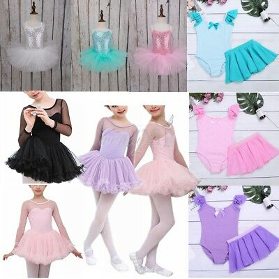 Girls Kids Gymnastics Leotard Latin Ballet Dress Tutu Skirt Dancewear Costume