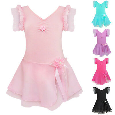 Girls Kids Ballet Dress Leotard Skirt Costume Dancewear Gymnastics Toddler 2T-12