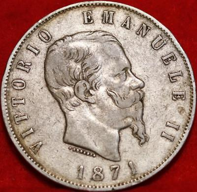 1871 Italy 5 Lire Silver Foreign Coin Free S/H