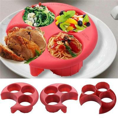 Meal Measure Portion Control Plate Red Diet Weight Loss Healthy Eating Tool - S