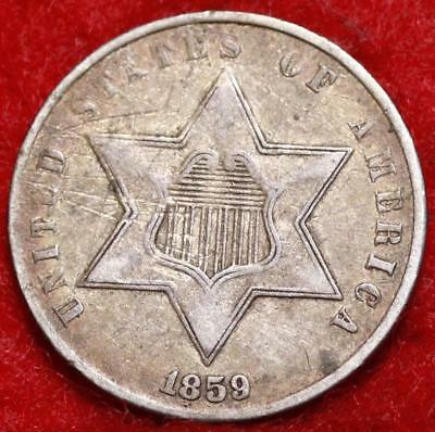 1859 Philadelphia Mint Silver Three Cent Coin Free Shipping
