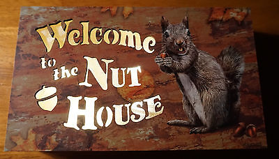 WELCOME TO THE NUT HOUSE Squirrel Lodge Cabin Home Acorn Decor Light Sign NEW