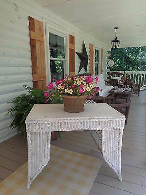 Awesome Chic Not Shabby Antique Wicker Desk Table w/ Book Storage Display ESTATE