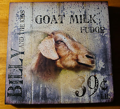Goat Country Kitchen Farm Sign Rustic Primtiive Wood Plank Home Decor Sign NEW