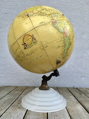 "c1940 Rand McNally 9"" Indexed Terrestrial Art Globe Deco White Glass Stand RARE!"