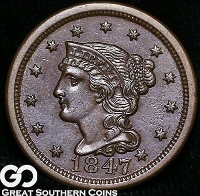 1847 Large Cent, Braided Hair, Super Nice Sharp Gem BU++ Copper!