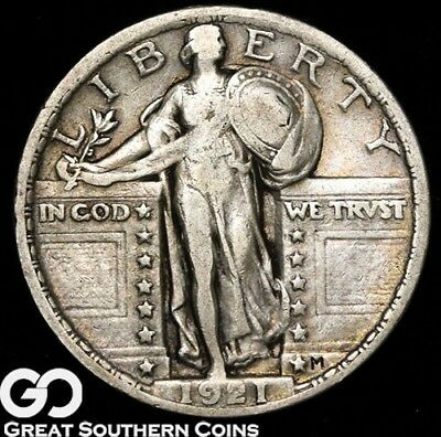 1921 Standing Liberty Quarter, Highly Collectible Low Mintage VF++ Key Date!