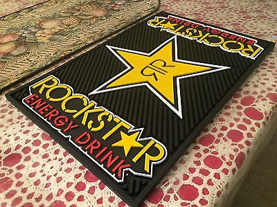 Authentic Brand New Rockstar Energy Drink Bar Mat Pad Monster Red Bull
