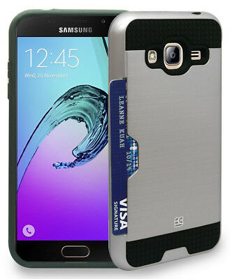 Silver Credit Card Slot Hard Wallet Case Cover For Samsung Galaxy Amp Prime