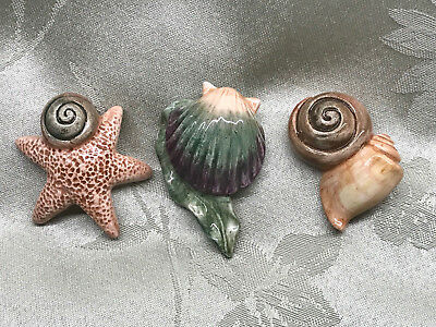 3-Fitz and Floyd Wicks and Sticks Sea Shell Candle Pins