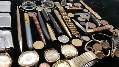 Junk Drawer Lot Silver Jewelry Vintage Lighters Watches Coins Knife Fountain Pen