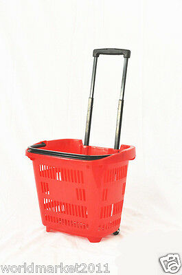 New Convenient Red Plastic Basket Two Wheels Shopping Luggage Trolleys