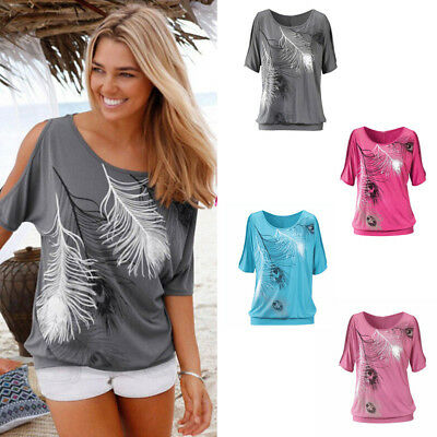 New Women Summer Tee Shirts Cold Shoulder Tops Blouse Girl Loose Cut Out T-Shirt