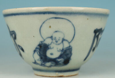 Chinese Old Blue and white Porcelain Hand Painting Buddha Statue Tea Cup Bowl