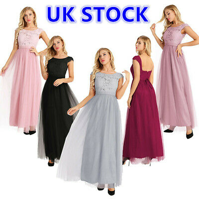 UK Elegant Women Bridesmaids Lace Long Maxi Evening Formal Party Dress Ball Gown