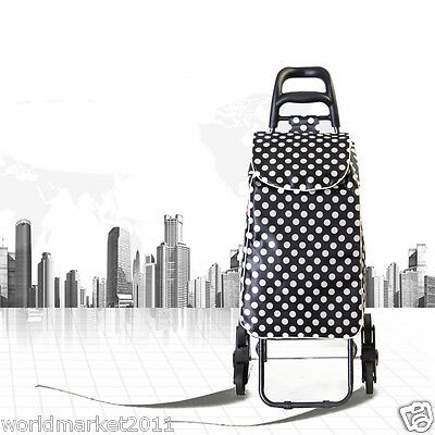 %H Convenient White Dot Pattern Six-Tire Collapsible Shopping Luggage Trolleys
