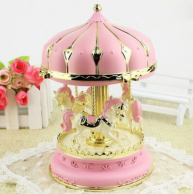 Pink Cake Merry-Go-Round ''Castle in the Sky''Music Box Birthday Gift