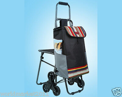 Stripe Pattern Chair Six-Tire Convenient Collapsible Shopping Luggage Trolleys