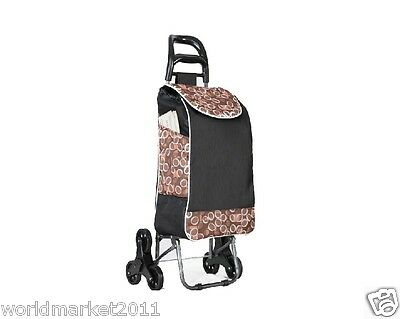 %H Convenient Brown Pattern Six-Tire Collapsible Shopping Luggage Trolleys
