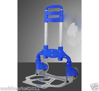 New Blue Two Wheels Convenient Collapsible Shopping Luggage Trolleys