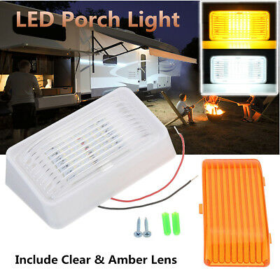 24 LED Porch Light Rectangle Clear&Amber Lens Camper Trailer RV White Exterior