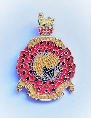 Royal Marines Globe And Poppy Laurel Lapel Pin Or Walking Stick Mount