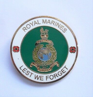 Lest We Forget Royal Marines Poppy Lapel Pin Or Walking Stick Mount