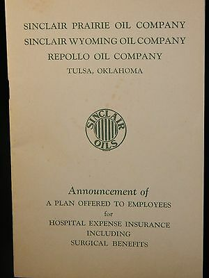 Sinclair Oil Health Insurance Handbook Including Surgical Benefits 1941