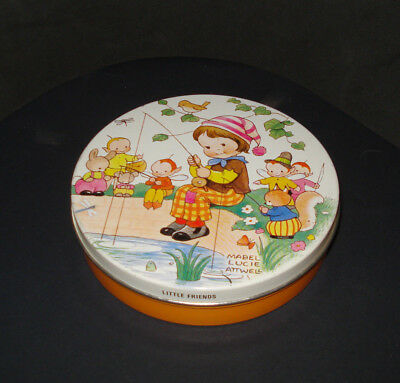 """5 in Huntley Palmer Iced Tea Bisquit Tin """"Little Friends"""" by Mabel Lucie Attwell"""