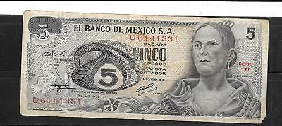 MEXICO MEXICAN #62b 1971 VG USED 5 PESO OLD BANKNOTE PAPER MONEY CURRENCY NOTE