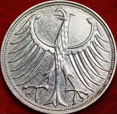 1958-G Germany 5 Marks Silver Foreign Coin Free S/H