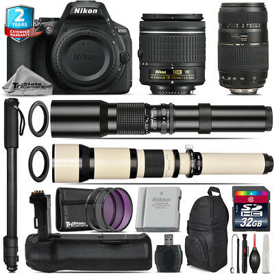 Nikon D5600 DSLR + AF-P 18-55mm VR + Tamron 70-300mm + Battery Grip - 32GB Kit