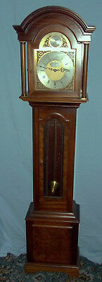 Fine Westminster Chiming Grandmother Clock In Solid Mahogany Case By Smallcombe