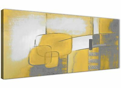 Mustard Yellow Grey Painting Bedroom Canvas Accessories - Abstract 1419 - 120cm