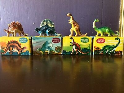 4 Vintage Miniature Prehistoric Monsters Dinosaur Toys With Boxes
