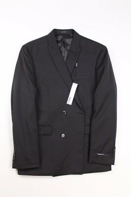 NEW Bar iii Slim Fit double breasted Sportcoat Blazer 42R Black WOOL TAKI1CAZ00